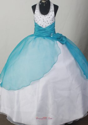 Beaded Halter Neckline Teal and White Flower Girl Pageant Dress