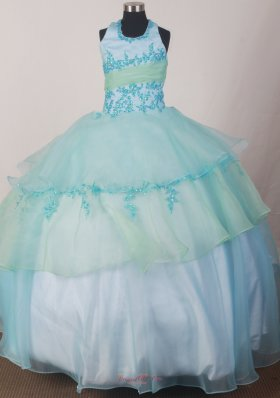 Appliques Light Blue Halter top Flower Girl Pageant Dress