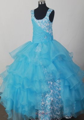 Light Blue Scoop Neckline Appliques Flower Girl Dress