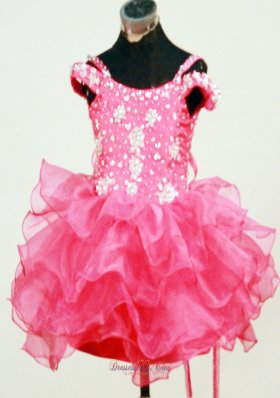 Spaghetti Straps Hot Pink Beaded Mini-length Child Pageant Dress