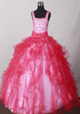 Coral Red Beading pageant dresses for toddlers