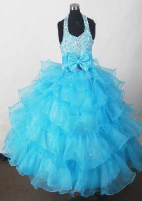 Little Girl Pageant Dress with Ruffled Layers Aqua Blue