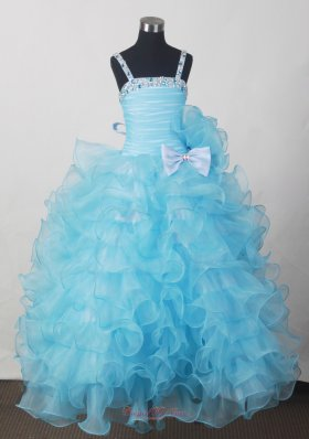 Kids Pageant Dresses Beading Bow Ruffled Layers Aqua Blue