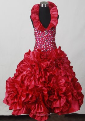 Red Hand Made Flowers Flower Girl Pageant Dress