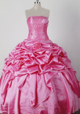 Pink Little Girl Pageant Dress Beading Hand Made Flowers