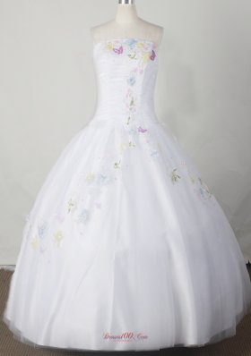Embroidery Beading Bodice White Little Girl Pageant Dress