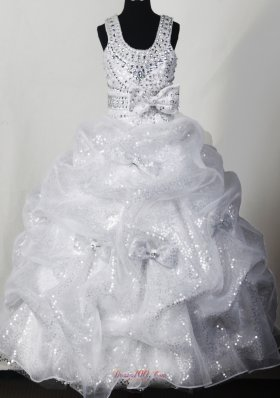 Beading Bowknot Organza 2014 Sequin Pageant Dress Scoop