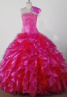Hot Pink Exquisite Beading Ruffles Pageant Dress One Shoulder