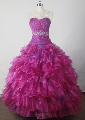 Beading Ruffles Fuchsia Handle Flowers Pageant Dress Sweetheart