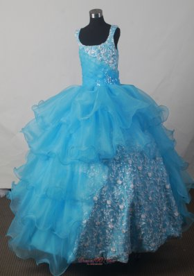 Aqua Sequince Luxurious Scoop Floor-length Pageant Dress
