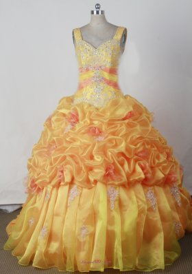 Orange Appliques Pick-ups Pageant Dress Sweetheart Strap