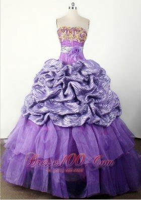 Zebra Modest Handle Flower Pageant Dress Strapless Lavender