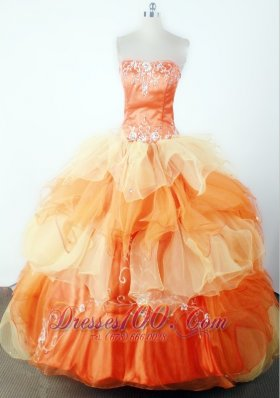Classical Embroidery Beading Strapless Orange Pageant Dress
