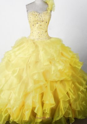 Elegant Beading Ruffles Yellow One Shouldder Pageant Dress