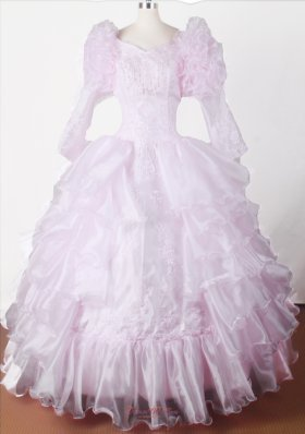 Bubble Sleeves Beautiful Ball Gown Pageant Dress V-neck
