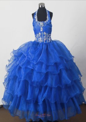 Perfect Beading Ball Gown Halter Pagant Dress Royal Blue