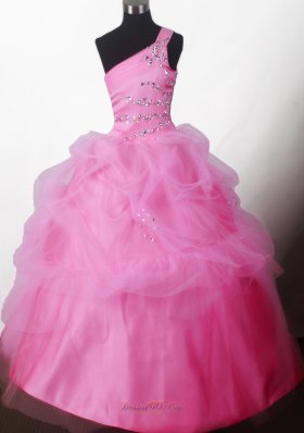 Pretty Baby Pink Beading One-shoulder Pageant Dress Pick-ups