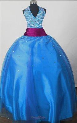 Sequince V-neck Pageant Dress Halter Sky Blue Purple Belt