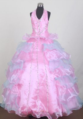 Halter Top Pink and Blue Little Girl Pageant Dress