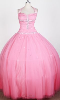 Rose Pink Haltered Beaded Ball Gown Girl Pageant Dress