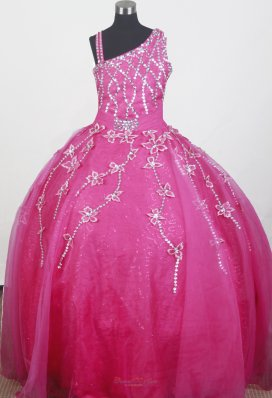 Hot Pink Little Girl Pageant Dress With Sequins Flowers