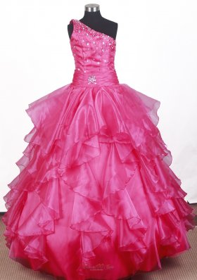 Hot Pink Ruffled Little Girl Pageant Dress One Shoulder