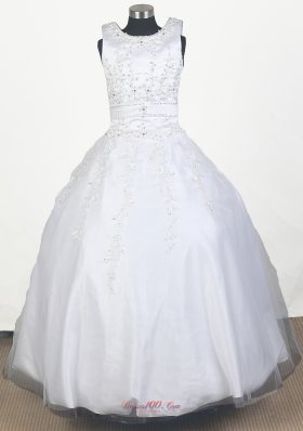 Scoop Neck Girl Pageant Dress Ball Gown In White