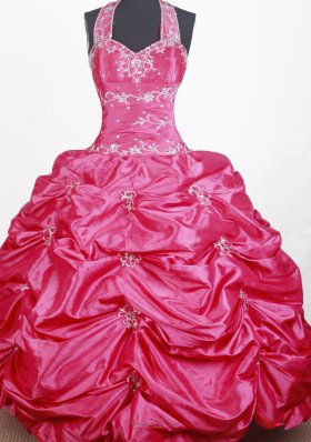 Hot Pink Halter Top Child Pageant Dress with Pick ups