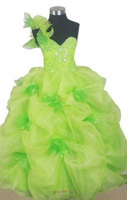 Spring Green Floral Little Girl Pageant Dress One Shoulder