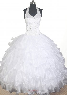 Ruffled White Ball Gown Flower Girl Dress Halter Top