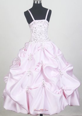 Spaghetti Straps Baby Pink Little Girl Pageant Dresses