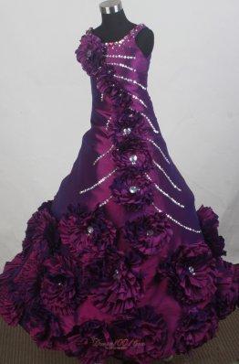 Dark Purple Hand Flowers Little Girl Pageant Dresses