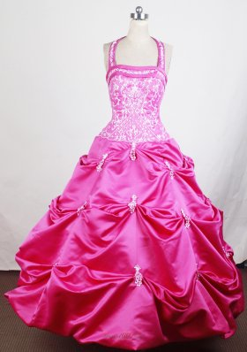Halter Top Embroidery Hot Pink Little Girl Pageant Dresses