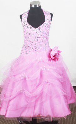 Haltered Pink Little Girl Pageant Dresses Hand Made Flower