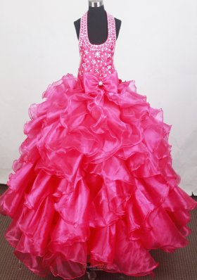 Organza Beaded Halter Bowknot Little Girl Pageant Dresses
