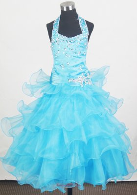Beaded Halter Ruffled Little Girl Pageant Dresses Aqua Blue