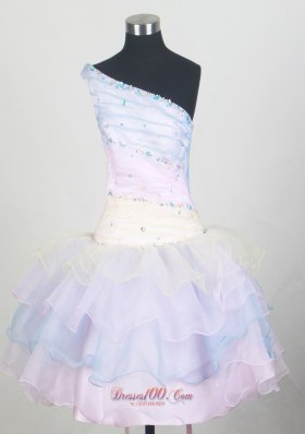 One Shoulder Layered Colorful Little Girl Pageant Dresses
