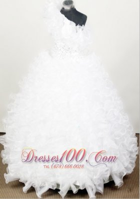 One Shoulder Flower Girl Pageant Dresses with Ruffles