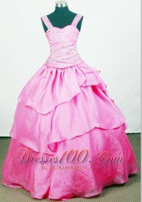 Custom Made Rose Pink Little Girl Pageant Dress