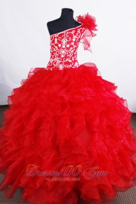 Blood Red One Shoulder Ruffled Pageant Dress Embroidery