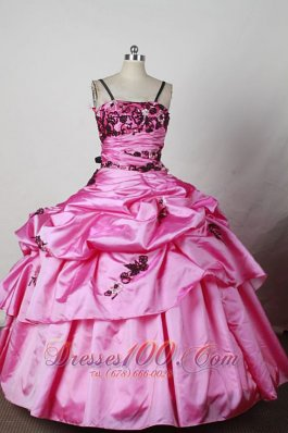 Spaghetti Straps Rose Pink Ball Gown for Pageants Colored