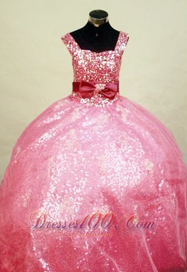 Paillette Watermelon Sweet 15 Birthday Gowns for Pageants
