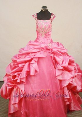 Rose Pink Pageant Dress Beaded Square Neckline Pleats