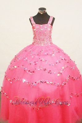 Heavy Beaded Hot Pink Junior Miss Pageant Dresses Sequins