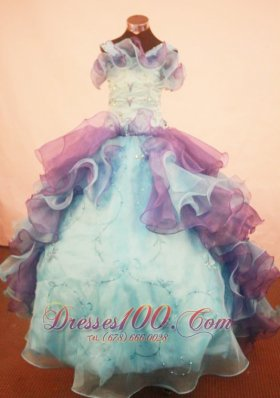 Trimmed Ruffles Multi-color Pageant Gowns Straps Organza