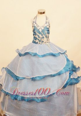 Layered Pageant Gowns for Juniors Halter Appliques