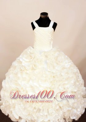 Rolling Flower White Ruffles Pageant Ball Gowns Straps