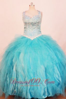 Plus Size Baby Blue Pageant Dresses Ball Gown Strap Sequin