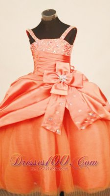 Floral Pick up Orange Red Pageant Dress Straps Crystal