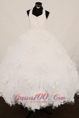 Pure White Halter Little Girl Pageant Gowns Handle Flower